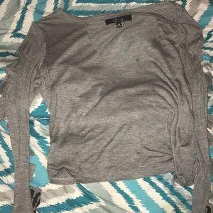 """Gray Shirt """"Savage"""" on sleeves"""